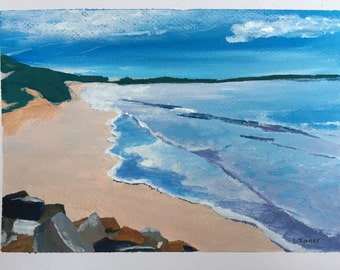 "Cronulla Beach Painting, Acrylic on Paper, Australian Artist, Seascape, 5x7"""