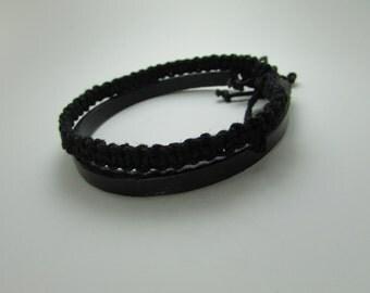 Black Leather & Hemp Bracelet Set