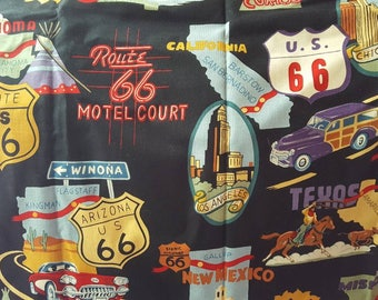 "Cotton Fabric, ""Route 66"", 1.33 yards"
