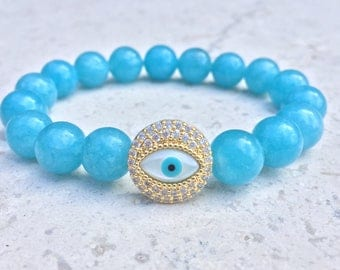 Blue Beaded Evil Eye Bracelet- Evil Eye Slide Charm Bracelet- Colored White Jade Bracelet- Girlfriend Gift- Protective Bracelet- For Her