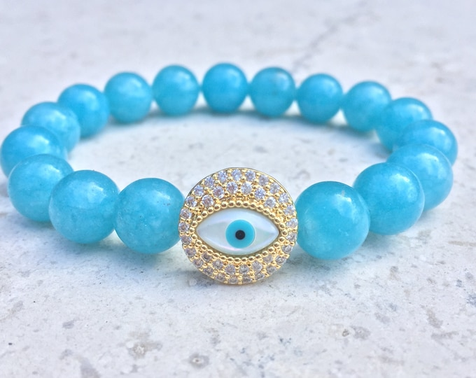 Blue Beaded Evil Eye Bracelet- Evil Eye Slide Charm Bracelet- Colored White Jade Bracelet- Girlfriend Gift- Protective Bracelet- For Her
