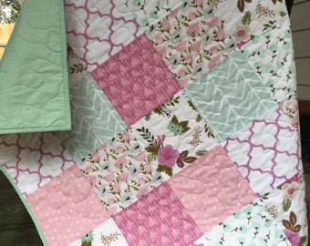 Floral baby quilt, roses-peonies-chevron, pink-fuschia-mint