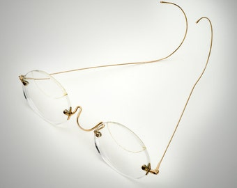 nice gold filled eyeglasses rimless spectacles circa 1910