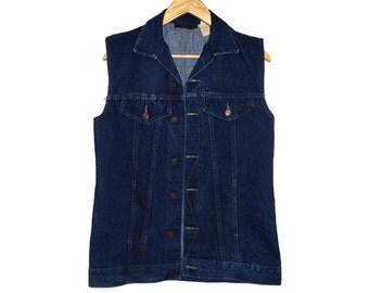 Vintage 70s Jean Vest - Small Mens - Denim Vest - Long Vest - Dark Blue - 1970s Vintage Clothing - 70s Clothing - Western Wear - Punk Goth -