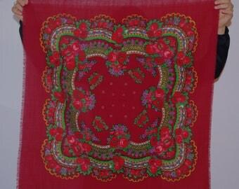 Polish scarf Ukrainian shawl Maroon Russian scarf Wool floral shawl Brown Shawl Folk Flowers Vintage Russian / headscarf Babushka 70's scarf