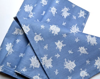 Napkins Blue with White Floral Pattern Cotton Set of 4