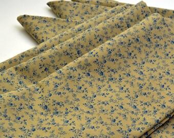 Napkins Blue Floral Pattern on Tan Cotton Set of 6