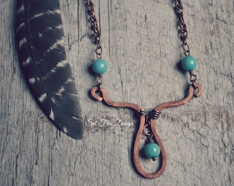 "Hammered Copper Necklace  ""Primitive Beauty"""