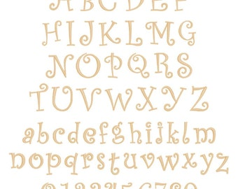 """6"""" Curly / Curlz Font Entire Alphabet Letters Unfinished MDF Wood Cutout USA Made Home Kids Nursery Decor"""
