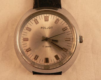 Vintage Funky Poljot Wrist Watch 17 J Made for Export in USSR Ca 1970's