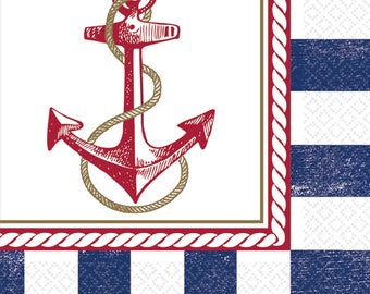 Set Of 16 Strong 6 1/2 Inch Large Dinner - Luncheon Size Paper Napkins Nautical Anchor  Theme Party Tableware - Summer Napkins - Clam Bake