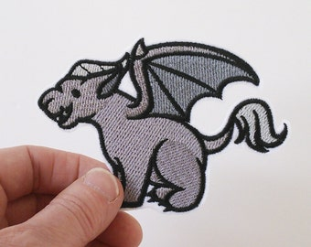 Iron on patch, embroidered patch,patches for jeans, patch for backpack,iron on patches,cute gargoyle patch, mythological creature patch.