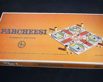 Vintage Parcheesi Game -Selchow & Righter, 1964 - #2, gold seal edition, complete, original, classic board game, family game night, all ages
