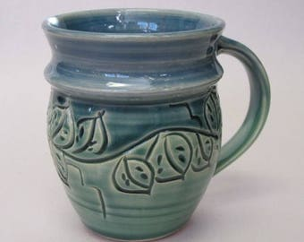Leaf Mug in green/blue glazes