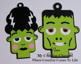 The Frankenstein's Happy Halloween Tags (Set of 12)-Halloween-Tags-Halloween Tags-Tag