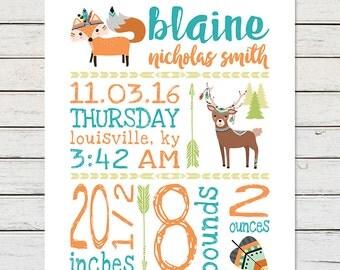 TRIBAL NURSERY PRINTABLE, Woodlands Nursery Printable, Birth Stats Printable, Print at Home, Fox Nursery, Deer Nursery, Digital Printable