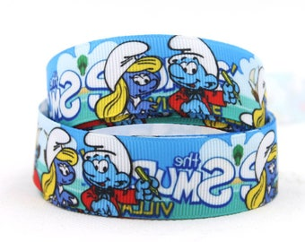 10 Yards The Smurfs Printed Grosgrain Ribbon - 7/8 inch (22mm) width - Disney The Smurfs Smurfette Cartoon Animation - Pattern Ribbons -hs42