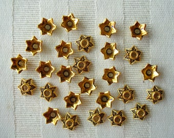 36pc Antique Golden Little Star Caps. 7x3.5mm  Cast Metal Domed Star Cone Caps. Favorite Small Gold Star Cap ~USPS Ships Rates /Oregon