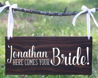 Custom name, Here Comes the Bride wood sign, Ring Bearer Sign, Flower Girl Sign, Bohemian Wedding Sign,  Boho Here comes the bride sign NBW3