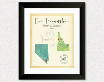 Our Friendship Knows No Distance Gift, Personalized BFF Gift Print, Going Away Gift for Friend, Birthday Gift Idea, Choose Your Places