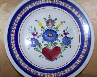 """9-1/2"""" Plate Handpainted Ceramic in old world style made in Austria"""