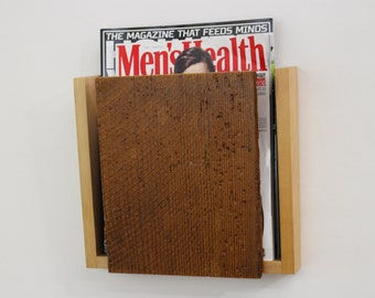 Rustic Magazine Rack / Handmade Barnwood Magazine Holder by Recovered Design
