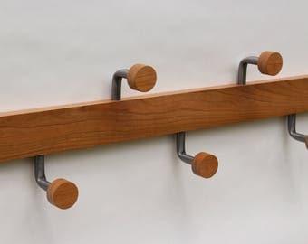 Modern Wood Coat Rack / Metal Coat Hooks / Coat Rack Wall / by Recovered Design