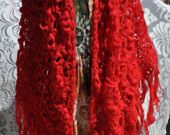 Red Crochet Wrap