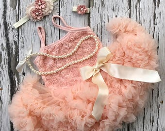 First birthday outfit girl. Tutu dress. Girl birthday outfit.  Petti skirt. Cake smash outfit. Blush tutu dress