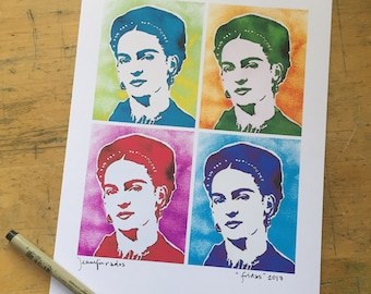 Frida Kahlo Painting Montage in Andy Warhol Style 8 x 10 Print High Resolution