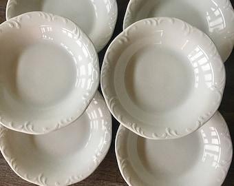 Vintage Rosenthal Monbijou Soup Bowls, set of 6 | rosenthal china bowls, all white china, white porcelain bowls, coupe soup bowls