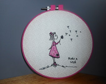 EMBROIDERED WALL ART Make a Wish In Hoop Girl Bedroom or Nursery Decor Fabric Art