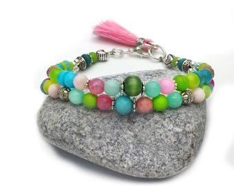 Beaded bracelet colourful, gemstone bracelet, summer bracelet, boho bracelet,multi colour bracelet, handmade jewellery