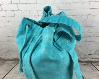SALE Rucksack, duffle bag, sailor bag, Luggage sack, hand dyed aqua marine cotton canvas bag