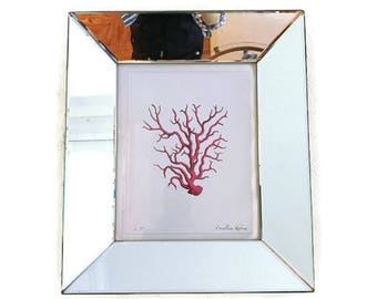 Red Coral Print in Mirror Frame