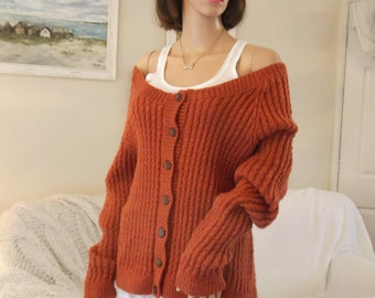 Hand Knitted rust cardigan Hand knit sweater  Hand knitted jacket Rust handknit Large rust hand knit cardigan Off shoulder handknit cardigan