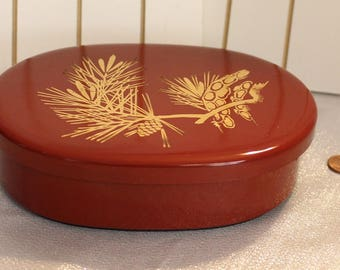 Japanese Bento box lunch box vintage Asian Gold, Orange and Black Pine cone Tree