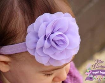 Light Purple Chiffon Flower Headband, Baby Headband, Newborn Headband, Lavender Bow, Baby Girl Headband, Shabby Headbands, Infant Headband