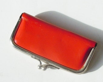 Leather Manicure Set / Everything you need in a tiny red vintage kit / Made in US Zone Germany