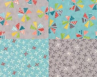 Mixed Bag - Pinwheels and Jacks - 4 Fabric Bundle from Moda