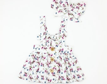 Olivia: Bow Back Suspender Skirt (6M-14Yrs) Big Bow Headband. Ditsy Floral. Button Down. Spring Summer