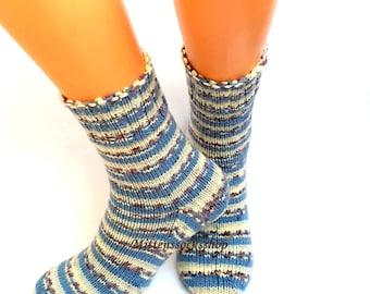 Blue White Gray Hand Knitted Socks Blue White Women's Socks Blue White Striped Girl's Socks Striped Blue White Men's Socks Warm Winter Socks
