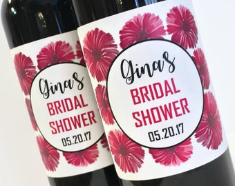 Mini Wine Labels for Bridal Shower Favor or Bachelorette Favor, Pink Flowers Mini Wine or Champagne Labels, Custom Wedding wine labels