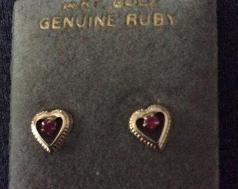 Ruby earrings Vintage gold 14kt genuine Ruby stud earrings fine estate jewelry