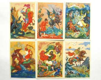 Russian Epic, Set of 12 Soviet Postcards, Palekh, Art, Bylina, Print, Tale, Soviet Union Vintage Postcard, USSR, Unused Postcards, 1968