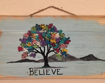 """Unique Colorful Wall Hanging Acrylic Tree on Craft Wood, ready to hang. """"Believe"""""""