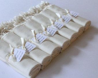 7 IVORY PASHMINA SHAWLS - Shawl with Favor Tags - Pashmina Ivory - Shawl Ivory - Keepsake - Favors - Wedding Wraps - Bridesmaid Shawls Ivory