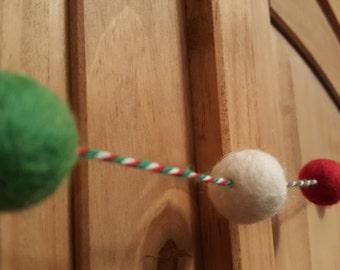 Christmas Wool felt pom pom garland