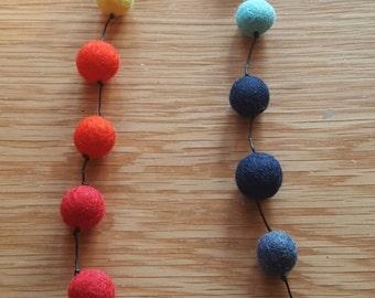 Handmade felt wool necklace. Pom pom necklace