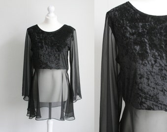 Vintage black velvet and chiffon mix top